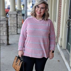 AE Pink Striped Sweater